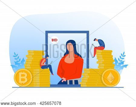 Non Fungible Token Sell And Buy Art On Market Place Illustration Landing Page For Websites,blockchai