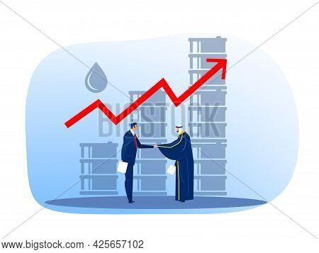 Arabic Muslim Oil Businessman Matching With European Buyer, Oil Trade Flat Vector Illustration