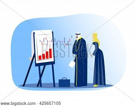 Muslim Businessman Looking Financial Graph On Flip Chart Stock Market Concept Modern Office Interior