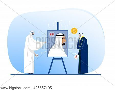 Muslim Man Arab Offer Art On Non Fungible Token Sell And Buy Art On Marketplace Illustration ,vector