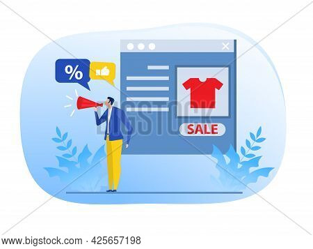 Businessman Promotion Web Concept.digital Marketing Marketer Discounts Concept ,vector Illustrator.