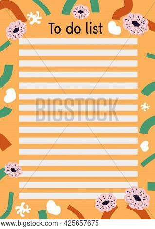 To Do List Planner With Doodle-style Colors And Stripes. Vector Illustration Of To-do Planner And A