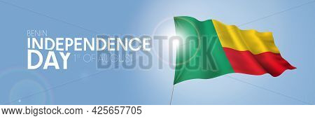 Benin Happy Independence Day Greeting Card, Banner With Template Text Vector Illustration