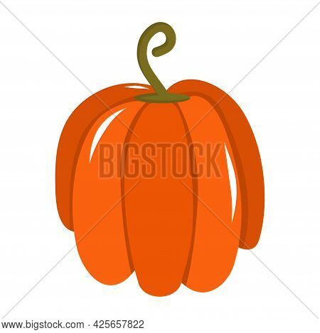 Orange Pumpkin Halloween Is Isolated On A White Background. Vector Illustration In Cartoon Style. Pu