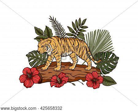 Jungle Cartoon Tropical Bengal Tiger Animal Printable Art. Palm Exotic Wildlife Cat Illustration Wit