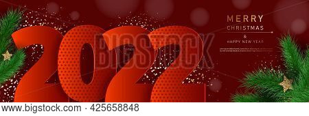 Glamorous Christmas banner with fir branches. Merry christmas and happy new year banner 2022. Christmas background. Merry Christmas card with gold snowflakes vector Illustration. Merry Christmas card vector Illustration.Christmas. Christmas Vector. Chr