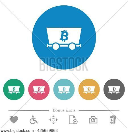 Bitcoin Criptocurrency Mining Flat White Icons On Round Color Backgrounds. 6 Bonus Icons Included.