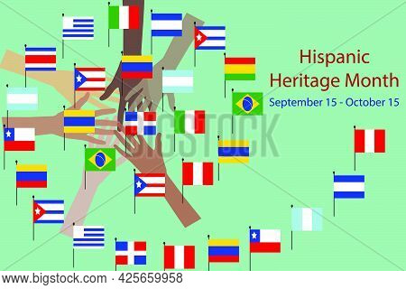 National Hispanic Heritage Month And Culture Theme Vector Illustration, Hands With Different Color A