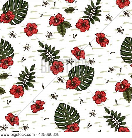 Red Hibiscus Flower Tropical Summer Seamless Pattern. Nature Floral Vector Illustration. Jungle Exot
