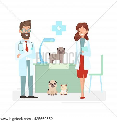 Vector Illustration Of Veterinarians Staff With Cute Animals. Vet And Pet Doctors With Dogs And Cat.