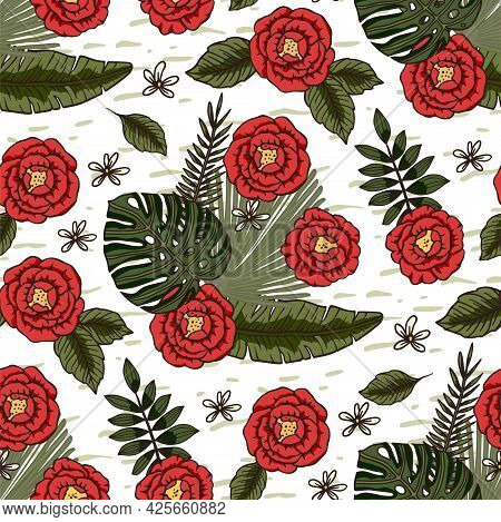 Red Hibiscus Rose Flower Tropical Summer Seamless Pattern. Nature Floral Vector Illustration. Jungle