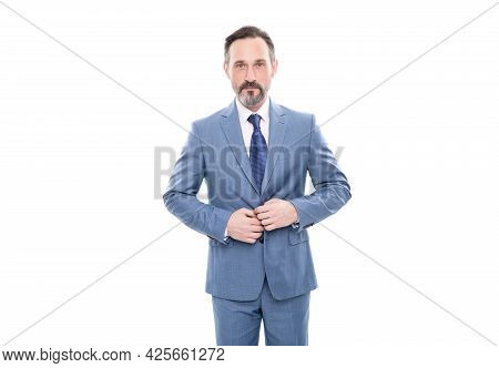 Serious Mature Grizzled Ceo In Businesslike Suit Isolated On White, Formal Fashion