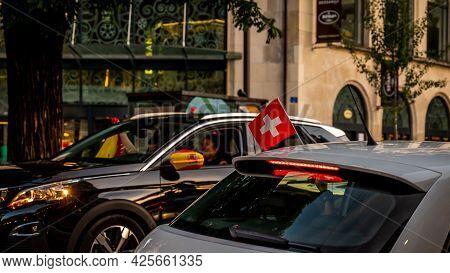Lausanne, Vaud Canton, Switzerland - July 2 2021: Switzerland Football Fans Manifest Against Spanish