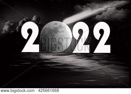 New Year 2022 Full Moon And Comet 3d Illustration With Rippled Water Reflection