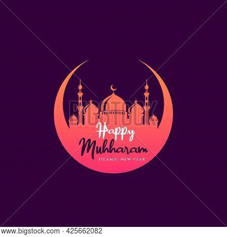 Happy Muharram Islamic New Year Background Design. Islamic Greetings Card Background Design.