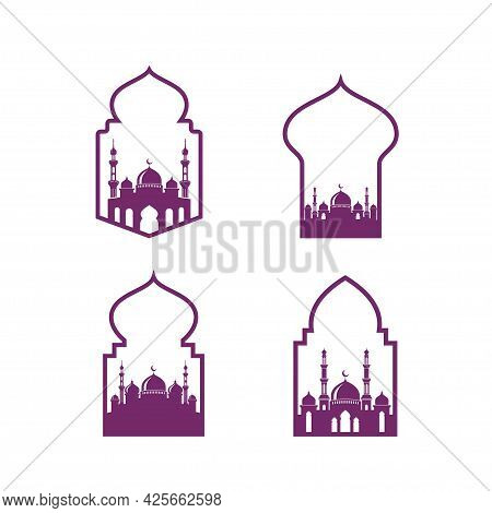 Mosque Vector Icon Design Isolated On Mosque Door Illustration Design Template