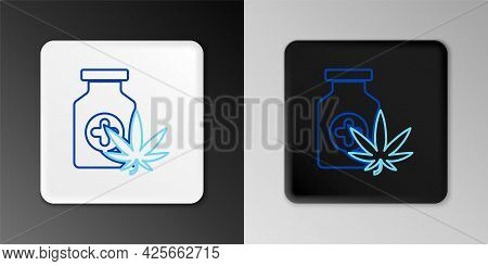 Line Medical Bottle With Marijuana Or Cannabis Leaf Icon Isolated On Grey Background. Mock Up Of Can