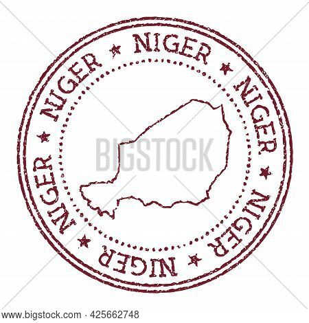 Niger Round Rubber Stamp With Country Map. Vintage Red Passport Stamp With Circular Text And Stars,