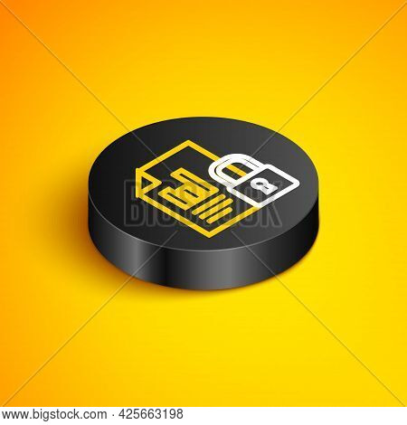 Isometric Line Document And Lock Icon Isolated On Yellow Background. File Format And Padlock. Securi