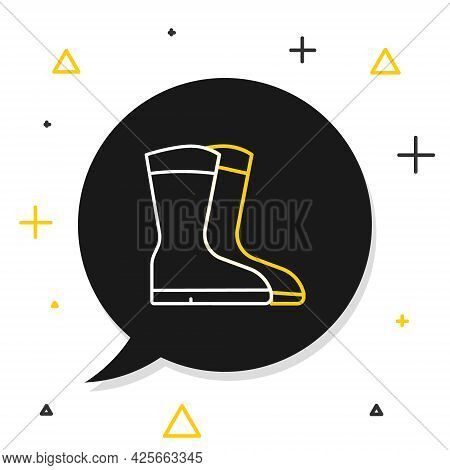 Line Fishing Boots Icon Isolated On White Background. Waterproof Rubber Boot. Gumboots For Rainy Wea