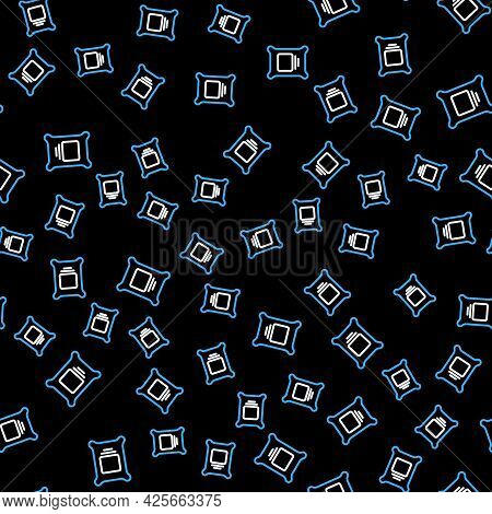 Line Fertilizer Bag Icon Isolated Seamless Pattern On Black Background. Vector