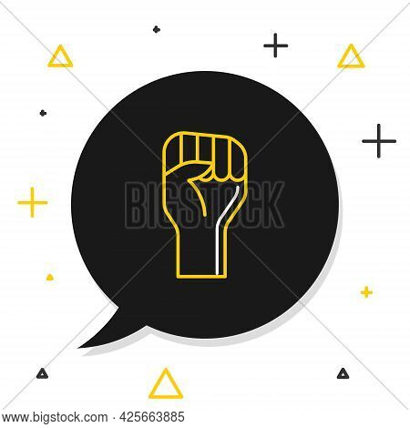 Line Raised Hand With Clenched Fist Icon Isolated On White Background. Protester Raised Fist At A Po