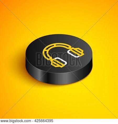 Isometric Line Headphones Icon Isolated On Yellow Background. Earphones. Concept For Listening To Mu