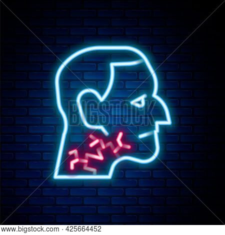Glowing Neon Line Throat Cancer Icon Isolated On Brick Wall Background. Laryngeal Cancer. Colorful O