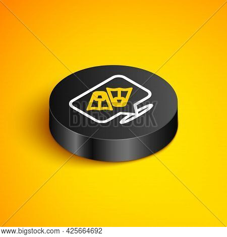 Isometric Line Rubber Flippers For Swimming Icon Isolated On Yellow Background. Diving Equipment. Ex