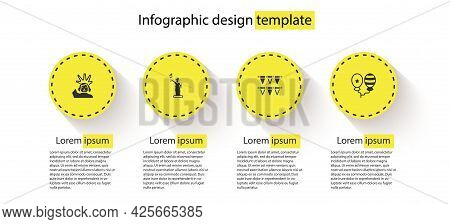 Set Statue Of Liberty, , Carnival Garland With Flags And Balloons. Business Infographic Template. Ve