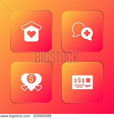 Set Shelter For Homeless, Dialogue With Doctor, Donation And Charity And Bank Check Icon. Vector
