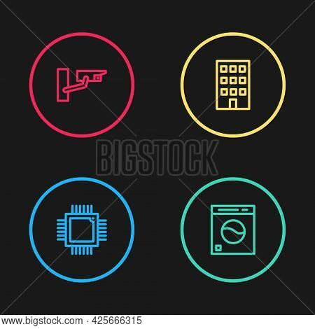 Set Line Processor With Microcircuits Cpu, Washer, House And Security Camera Icon. Vector