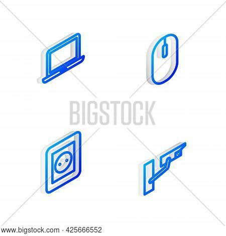 Set Isometric Line Computer Mouse, Laptop, Electrical Outlet And Security Camera Icon. Vector