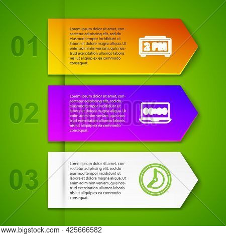 Set Line Digital Alarm Clock, Clock On Laptop, And Am. Business Infographic Template. Vector