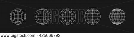 Cyber Retrofuturistic Planet Shapes. Trendy Cyberpunk Elements. Set Of Circle Geometry For Poster, C