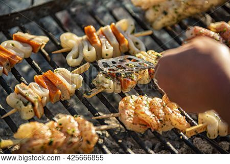 Fish Skewers On The Grill