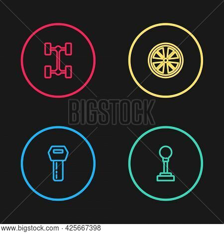 Set Line Car Key With Remote, Gear Shifter, Alloy Wheel And Chassis Car Icon. Vector