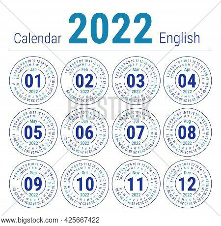 Calendar 2022. Vector English Round Calender. January, February, March, April, May, June, July, Augu