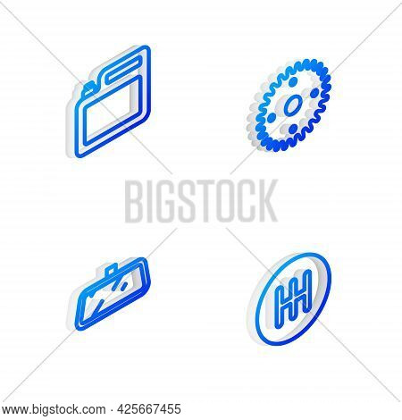 Set Isometric Line Gear, Canister For Motor Oil, Car Mirror And Shifter Icon. Vector