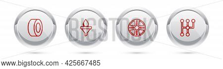 Set Line Car Tire, Funnel And Oil Drop, Alloy Wheel And Gear Shifter. Silver Circle Button. Vector