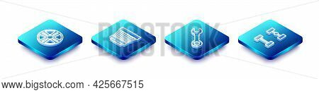 Set Isometric Line Alloy Wheel, Car Air Filter, Wrench Spanner And Chassis Car Icon. Vector