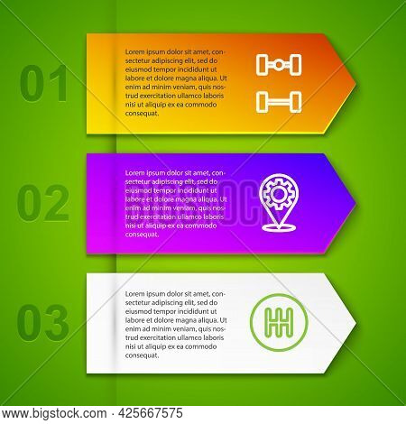 Set Line Chassis Car, Car Service, Gear Shifter And Alloy Wheel. Business Infographic Template. Vect