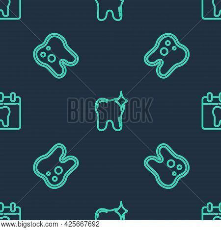 Set Line Tooth Whitening, With Caries And Calendar Tooth On Seamless Pattern. Vector