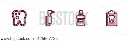 Set Line Tooth With Caries, Mouthwash Bottle, Drill And Dental Card Icon. Vector