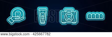 Set Line Tooth, Tube Of Toothpaste, First Aid Kit And Dentures Model. Glowing Neon Icon. Vector