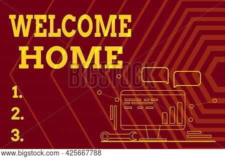 Text Sign Showing Welcome Home. Word For Expression Greetings New Owners Domicile Doormat Entry Comp