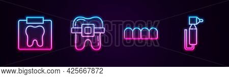 Set Line X-ray Of Tooth, Teeth With Braces, Dentures Model And Tooth Drill. Glowing Neon Icon. Vecto