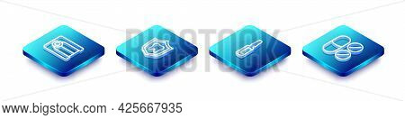 Set Isometric Line Dentures Model, Dental Protection, Painkiller Tablet And Icon. Vector