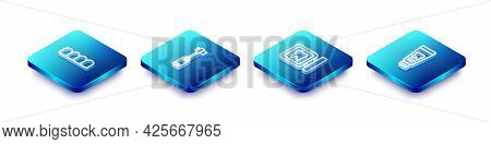 Set Isometric Line Dentures Model, Toothbrush, Dental Clinic Location And Tube Of Toothpaste Icon. V