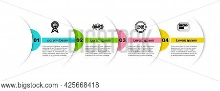 Set Line Antenna, 5g Network, And Micro Sim Card. Business Infographic Template. Vector